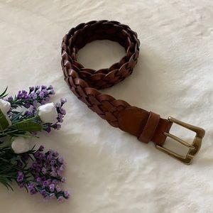 EDDIE BAUER Whiskey Brown Braided Leather Belt